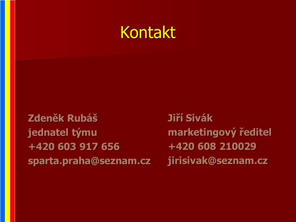Kontakt Jiří Sivák marketingový ředitel +420 608 210029 jirisivak@seznam.cz Zdeněk Rubáš jednatel týmu +420 603 917 656 sparta.praha@seznam.cz