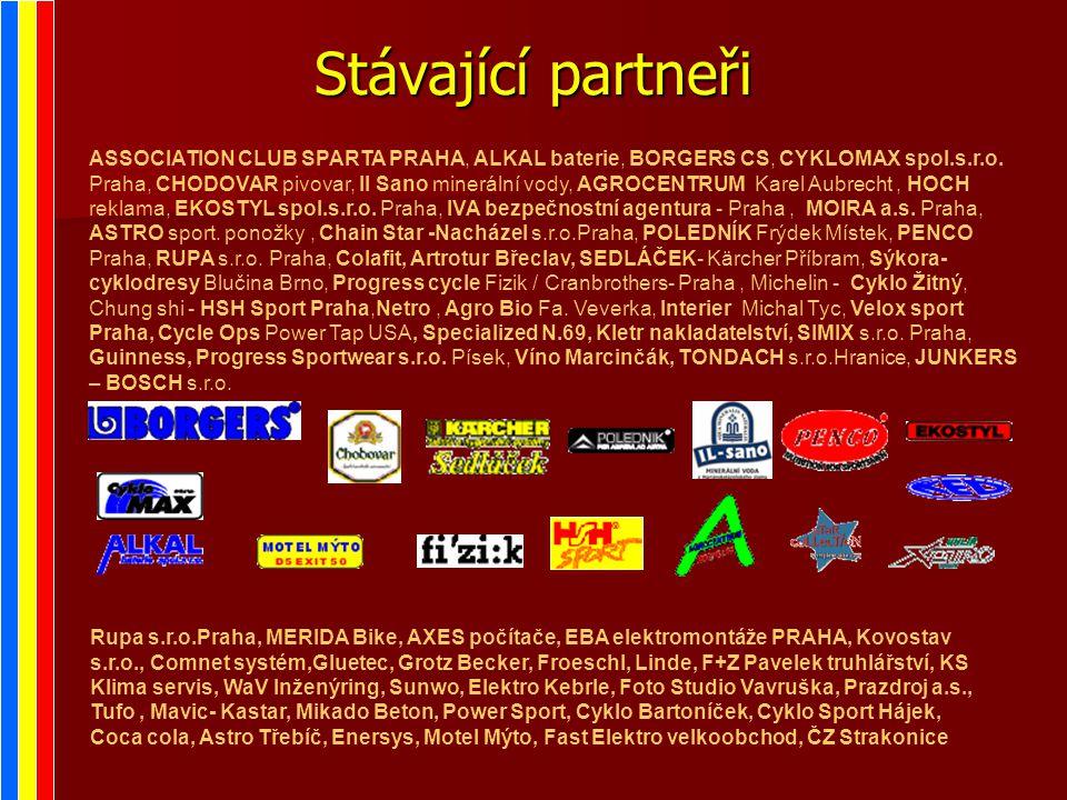 Stávající partneři ASSOCIATION CLUB SPARTA PRAHA, ALKAL baterie, BORGERS CS, CYKLOMAX spol.s.r.o.