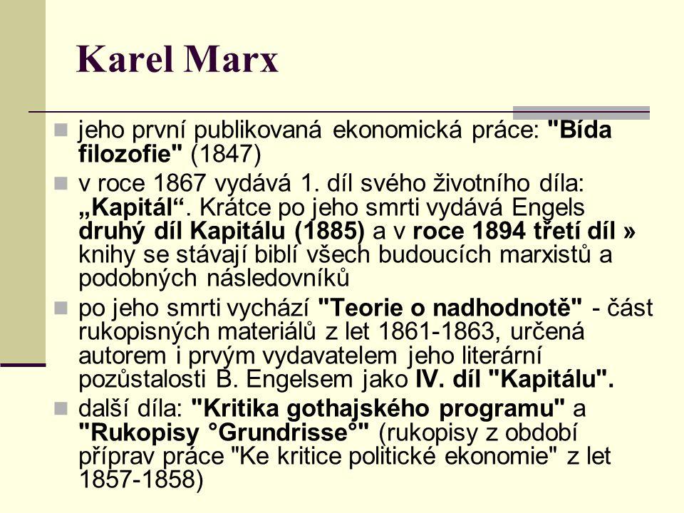 Karel Marx jeho první publikovaná ekonomická práce: Bída filozofie (1847) v roce 1867 vydává 1.
