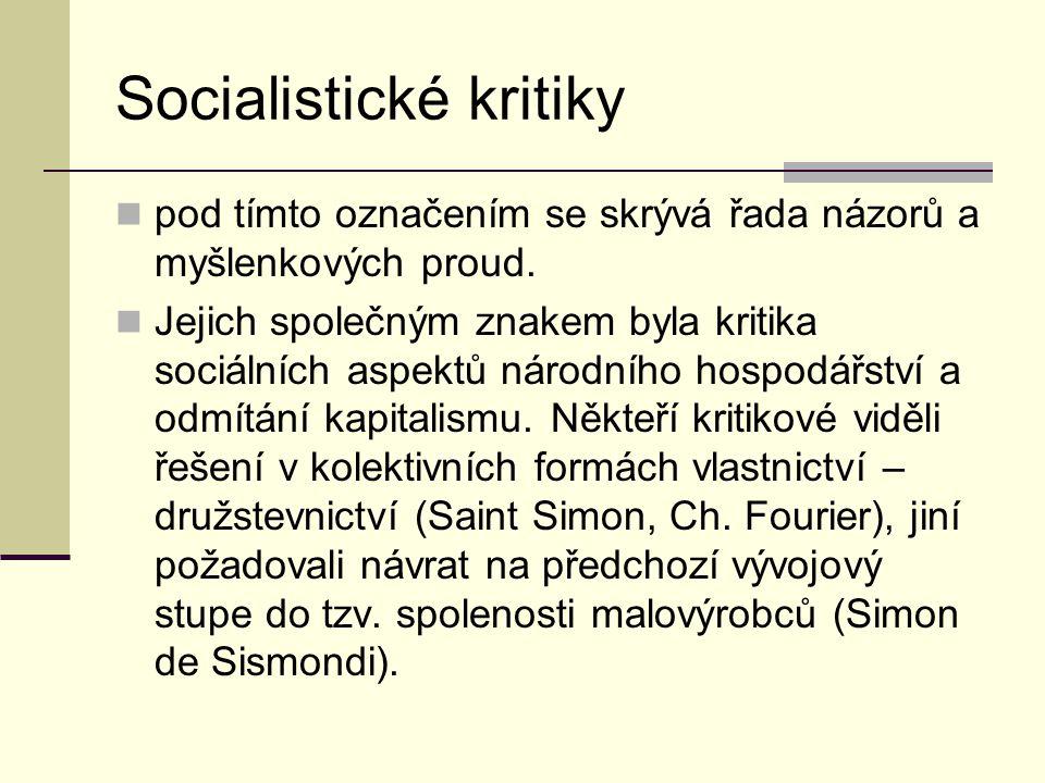 Socialistické kritiky pod tímto označením se skrývá řada názorů a myšlenkových proud.