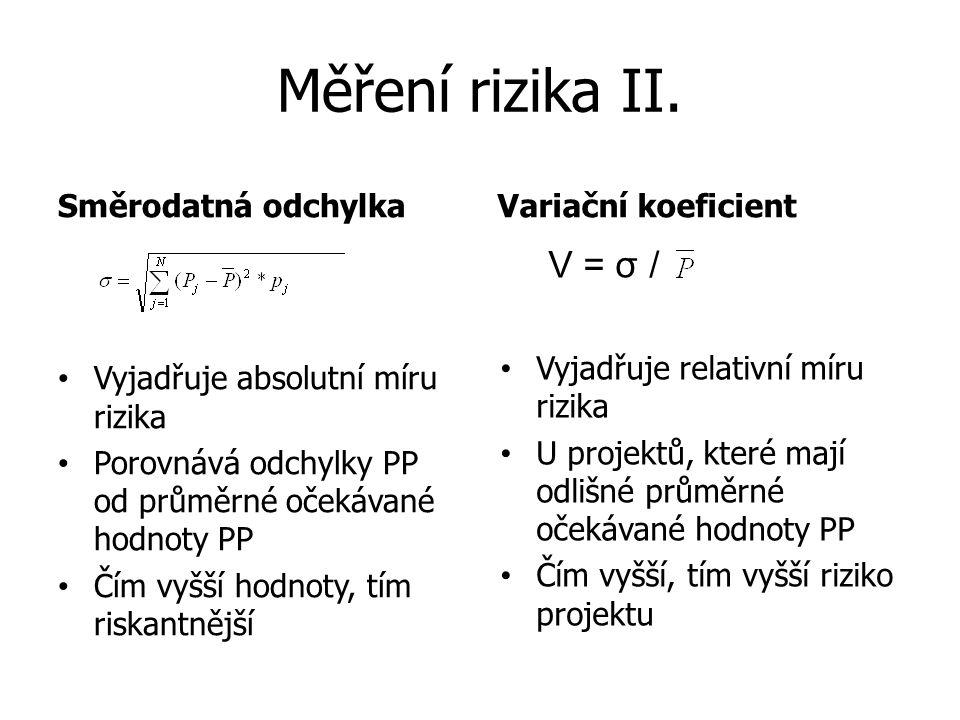 Měření rizika II. Směrodatná odchylkaVariační koeficient Vyjadřuje absolutní míru rizika Porovnává odchylky PP od průměrné očekávané hodnoty PP Čím vy