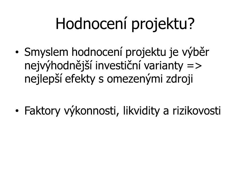 Hodnocení projektu? Smyslem hodnocení projektu je výběr nejvýhodnější investiční varianty => nejlepší efekty s omezenými zdroji Faktory výkonnosti, li