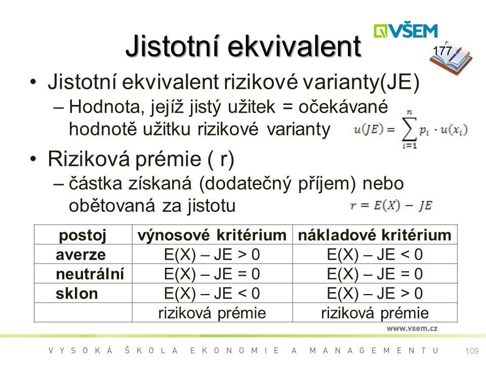 Jistotní ekvivalent Jistotní ekvivalent rizikové varianty(JE) –Hodnota, jejíž jistý užitek = očekávané hodnotě užitku rizikové varianty Riziková prémi