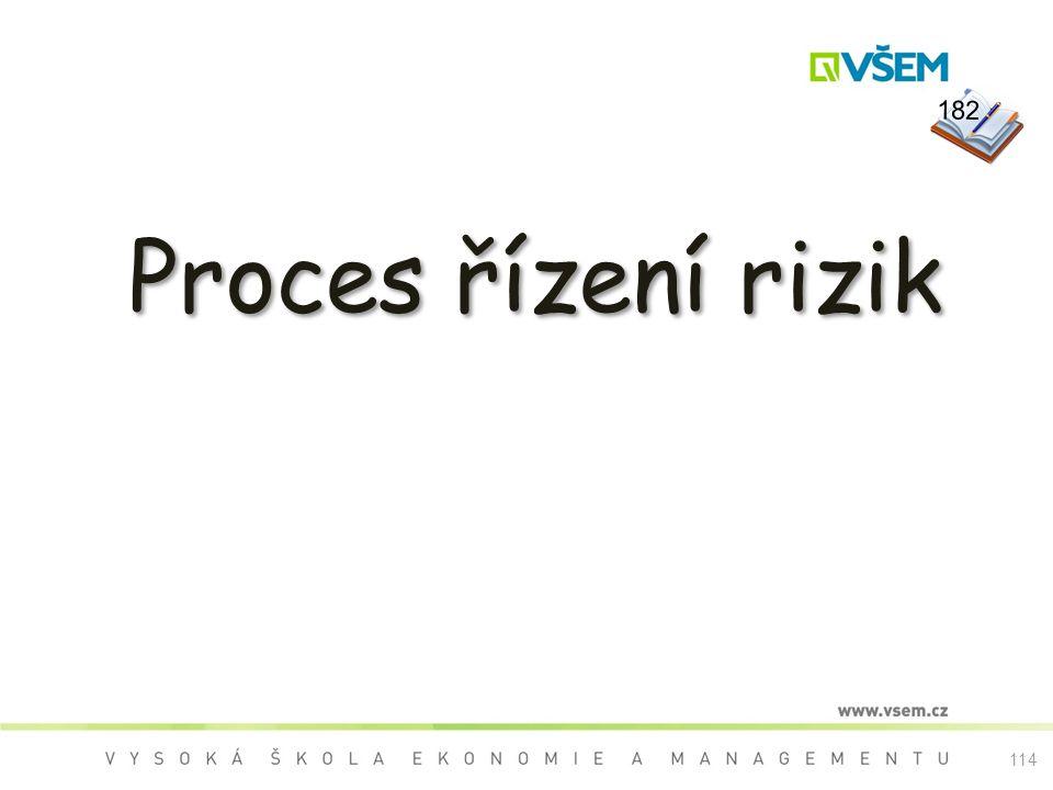 114 Proces řízení rizik 182