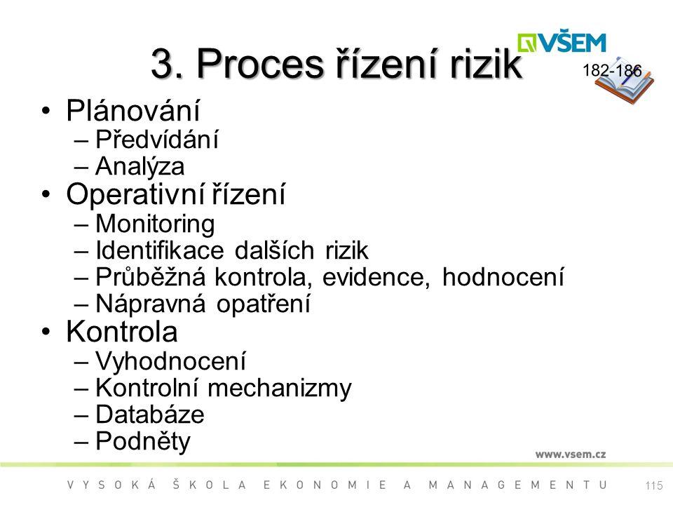 3. Proces řízení rizik Plánování –Předvídání –Analýza Operativní řízení –Monitoring –Identifikace dalších rizik –Průběžná kontrola, evidence, hodnocen