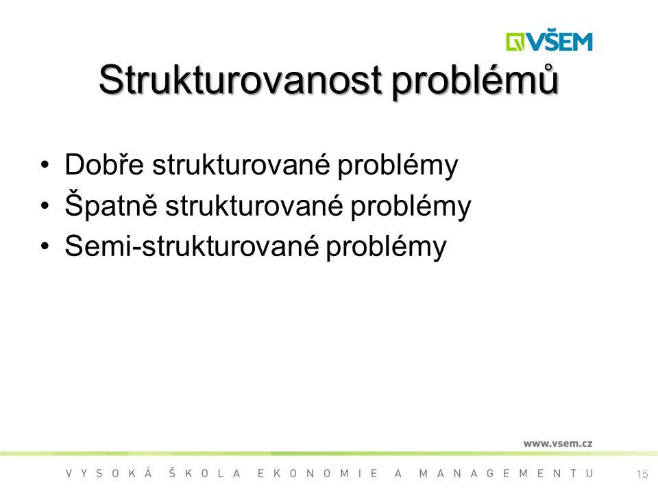 15 Strukturovanost problémů Dobře strukturované problémy Špatně strukturované problémy Semi-strukturované problémy