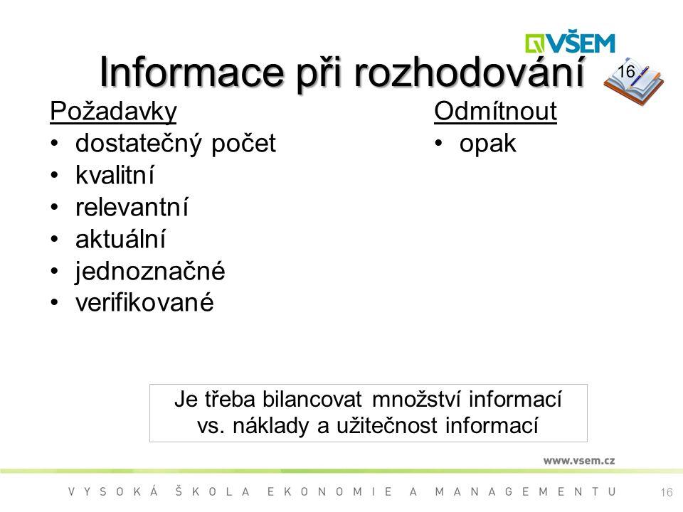 Informace při rozhodování PožadavkyOdmítnout opak Je třeba bilancovat množství informací vs. náklady a užitečnost informací dostatečný počet kvalitní