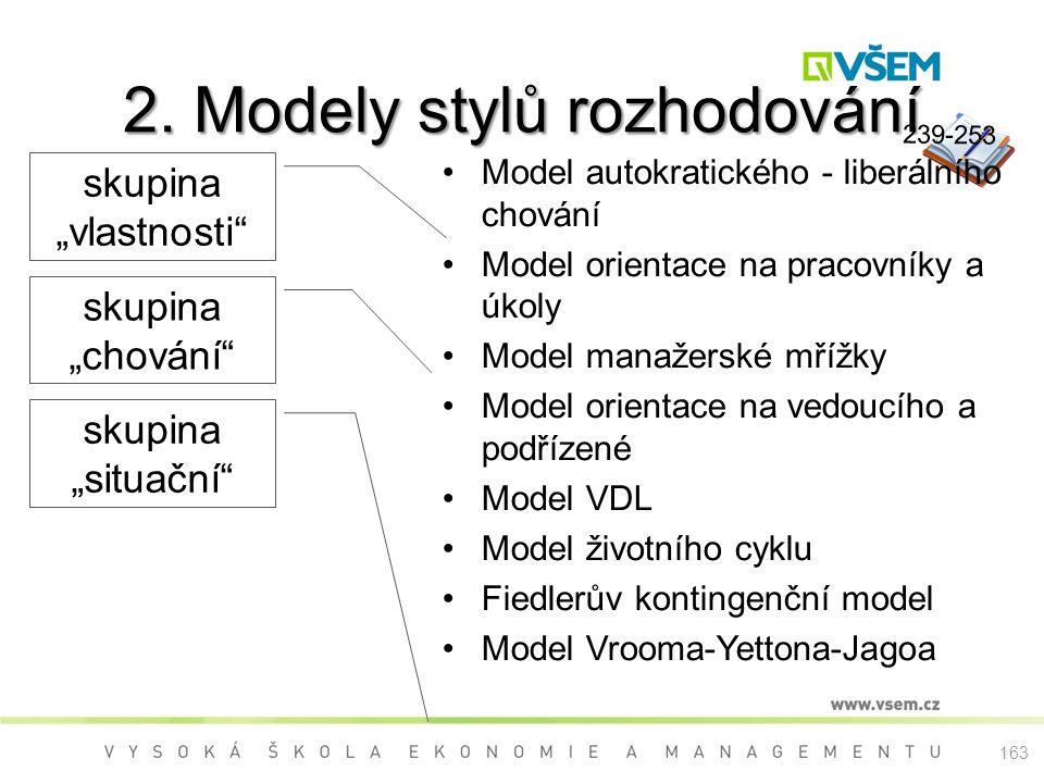 239-253 2. Modely stylů rozhodování Model autokratického - liberálního chování Model orientace na pracovníky a úkoly Model manažerské mřížky Model ori