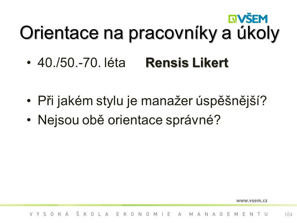 Rensis Likert40./50.-70.létaRensis Likert Při jakém stylu je manažer úspěšnější.