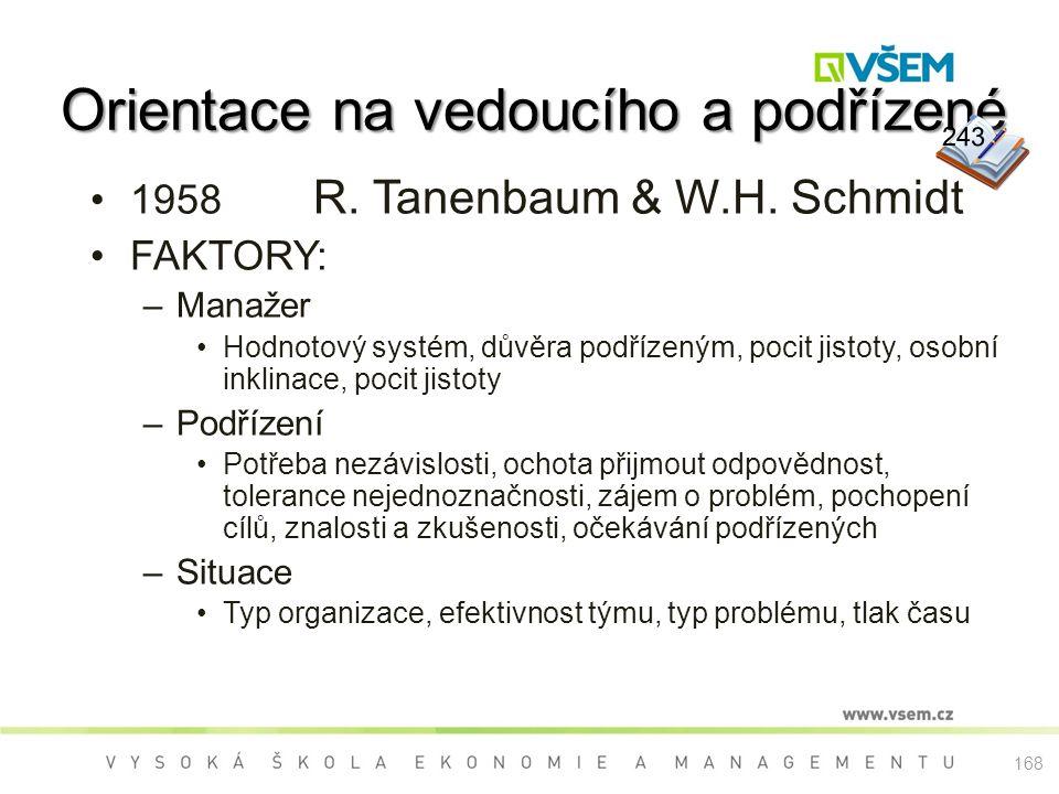 Orientace na vedoucího a podřízené 1958 R.Tanenbaum & W.H.