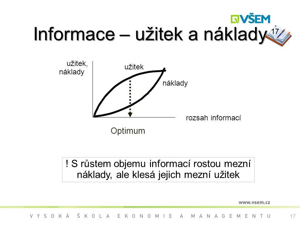 17 Informace – užitek a náklady náklady užitek rozsah informací užitek, náklady Optimum ! S růstem objemu informací rostou mezní náklady, ale klesá je