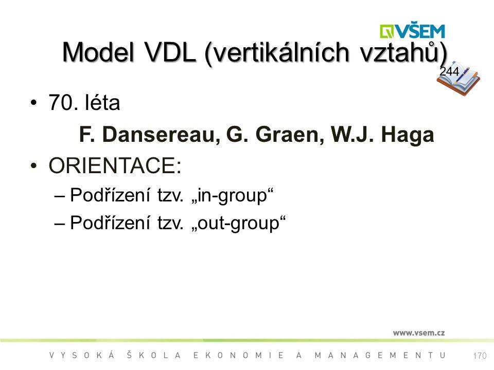 """Model VDL (vertikálních vztahů) Model VDL (vertikálních vztahů) 70. léta F. Dansereau, G. Graen, W.J. Haga ORIENTACE: –Podřízení tzv. """"in-group"""" –Podř"""