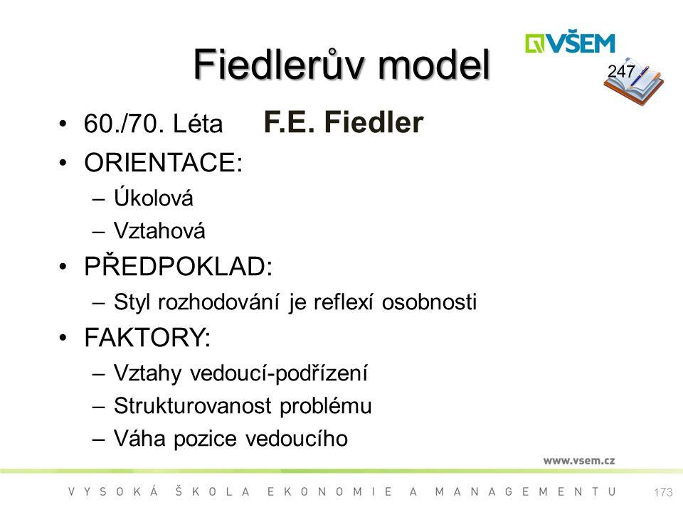 Fiedlerův model 60./70. Léta F.E. Fiedler ORIENTACE: –Úkolová –Vztahová PŘEDPOKLAD: –Styl rozhodování je reflexí osobnosti FAKTORY: –Vztahy vedoucí-po