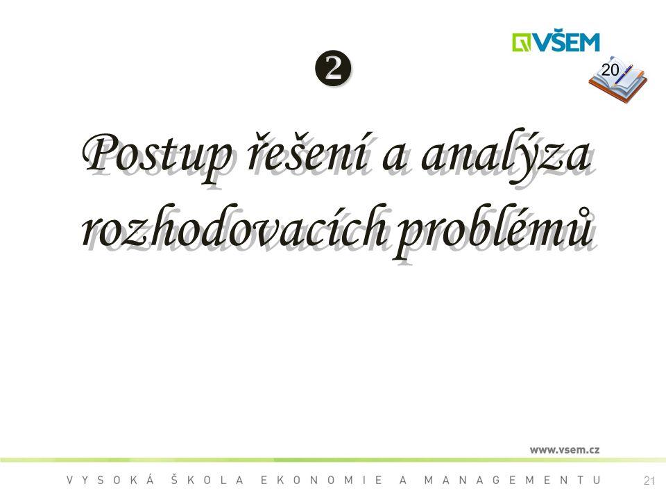  Postup řešení a analýza rozhodovacích problémů 20 21