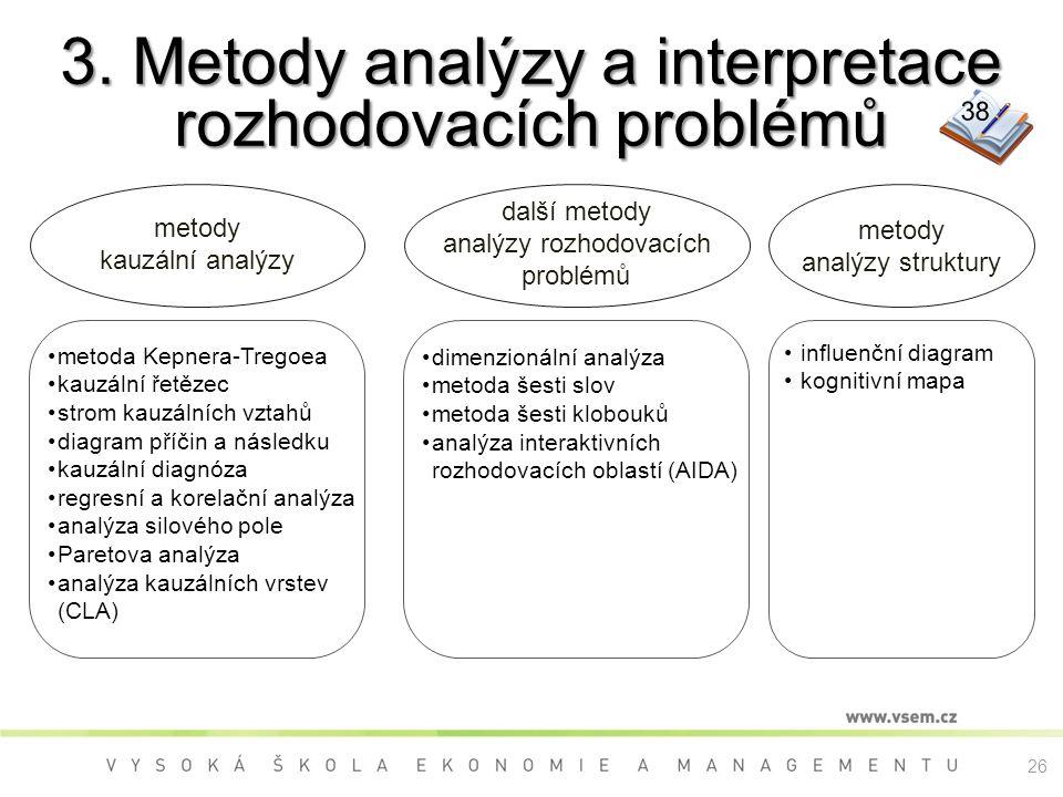 3. Metody analýzy a interpretace rozhodovacích problémů metody analýzy struktury metody kauzální analýzy metoda Kepnera-Tregoea kauzální řetězec strom