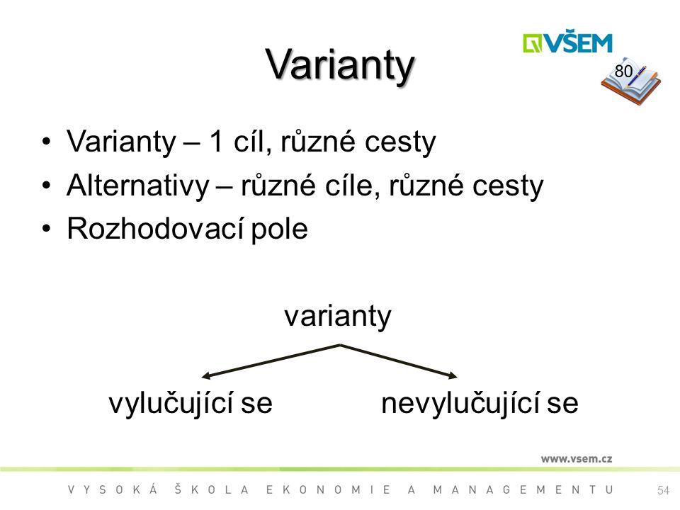 54 Varianty Varianty – 1 cíl, různé cesty Alternativy – různé cíle, různé cesty Rozhodovací pole varianty vylučující senevylučující se 80