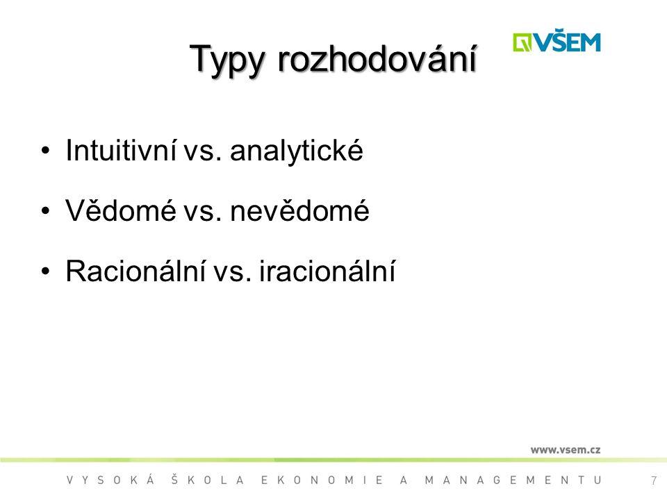 Typy rozhodování Intuitivní vs. analytické Vědomé vs. nevědomé Racionální vs. iracionální 7