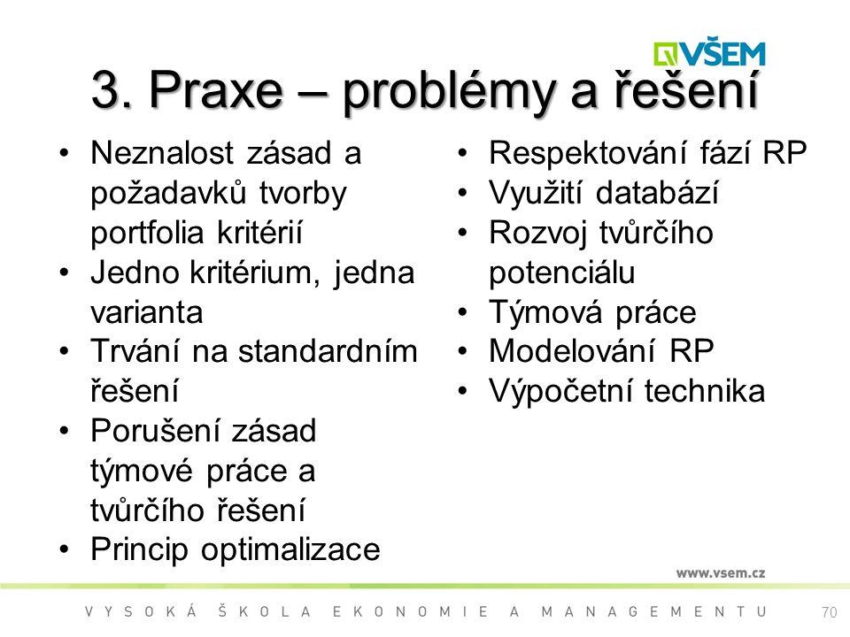 3. Praxe – problémy a řešení Neznalost zásad a požadavků tvorby portfolia kritérií Jedno kritérium, jedna varianta Trvání na standardním řešení Poruše