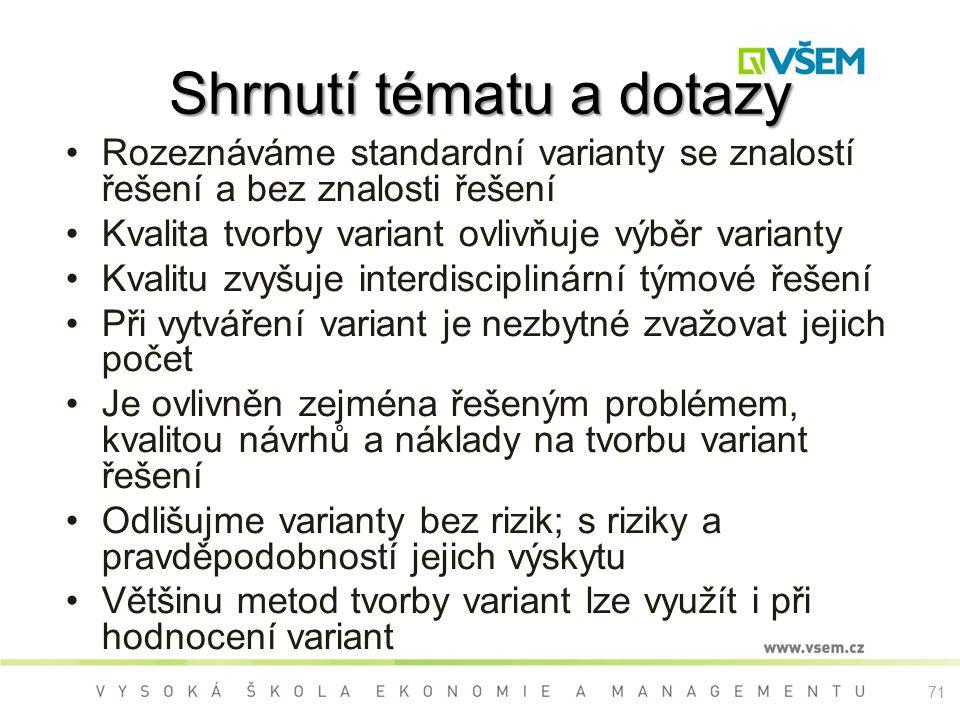 71 Shrnutí tématu a dotazy Rozeznáváme standardní varianty se znalostí řešení a bez znalosti řešení Kvalita tvorby variant ovlivňuje výběr varianty Kv