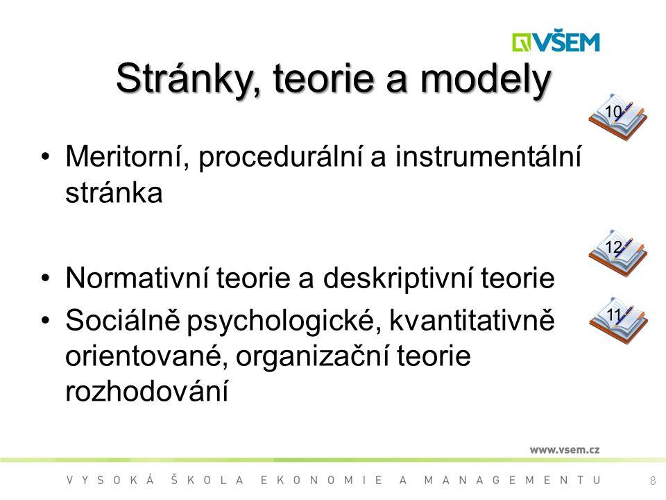 8 Stránky, teorie a modely Meritorní, procedurální a instrumentální stránka Normativní teorie a deskriptivní teorie Sociálně psychologické, kvantitativně orientované, organizační teorie rozhodování 9 101211