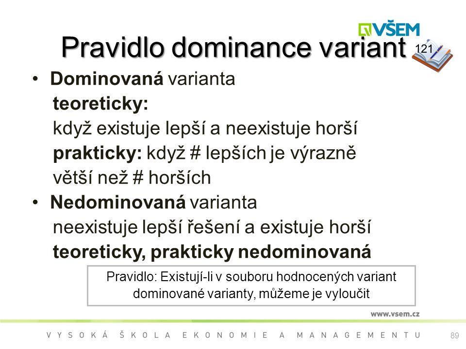89 Pravidlo dominance variant Dominovaná varianta teoreticky: když existuje lepší a neexistuje horší prakticky: když # lepších je výrazně větší než # horších Nedominovaná varianta neexistuje lepší řešení a existuje horší teoreticky, prakticky nedominovaná Pravidlo: Existují-li v souboru hodnocených variant dominované varianty, můžeme je vyloučit 121