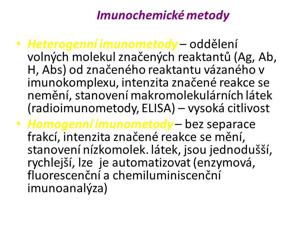 Heterogenní imunometody – oddělení volných molekul značených reaktantů (Ag, Ab, H, Abs) od značeného reaktantu vázaného v imunokomplexu, intenzita značené reakce se nemění, stanovení makromolekulárních látek (radioimunometody, ELISA) – vysoká citlivost Homogenní imunometody – bez separace frakcí, intenzita značené reakce se mění, stanovení nízkomolek.