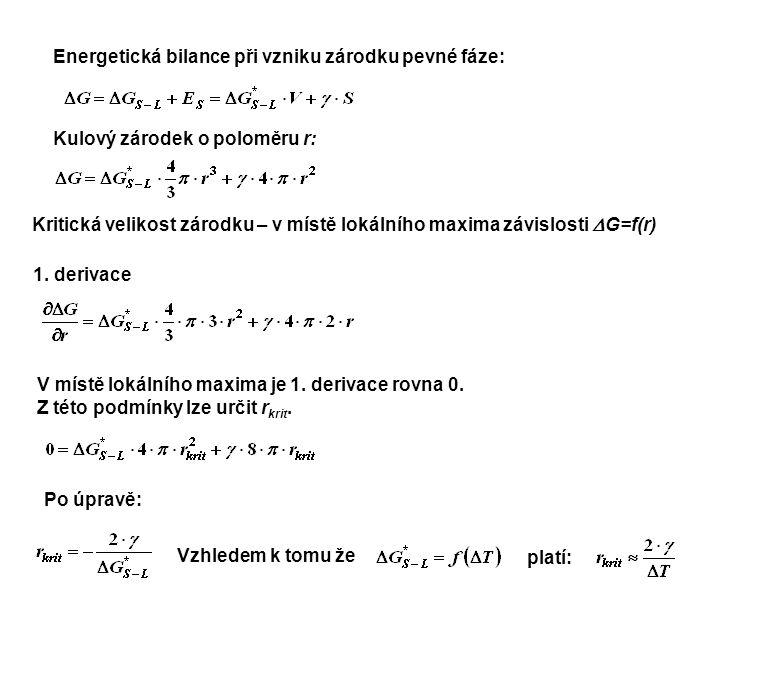 Energetická bilance při vzniku zárodku pevné fáze: Kulový zárodek o poloměru r: Kritická velikost zárodku – v místě lokálního maxima závislosti  G=f(