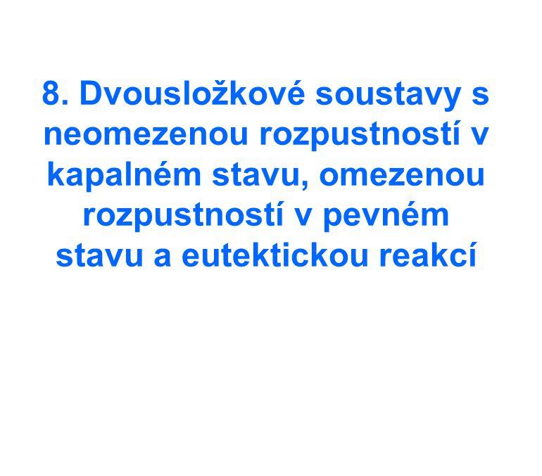 8. Dvousložkové soustavy s neomezenou rozpustností v kapalném stavu, omezenou rozpustností v pevném stavu a eutektickou reakcí
