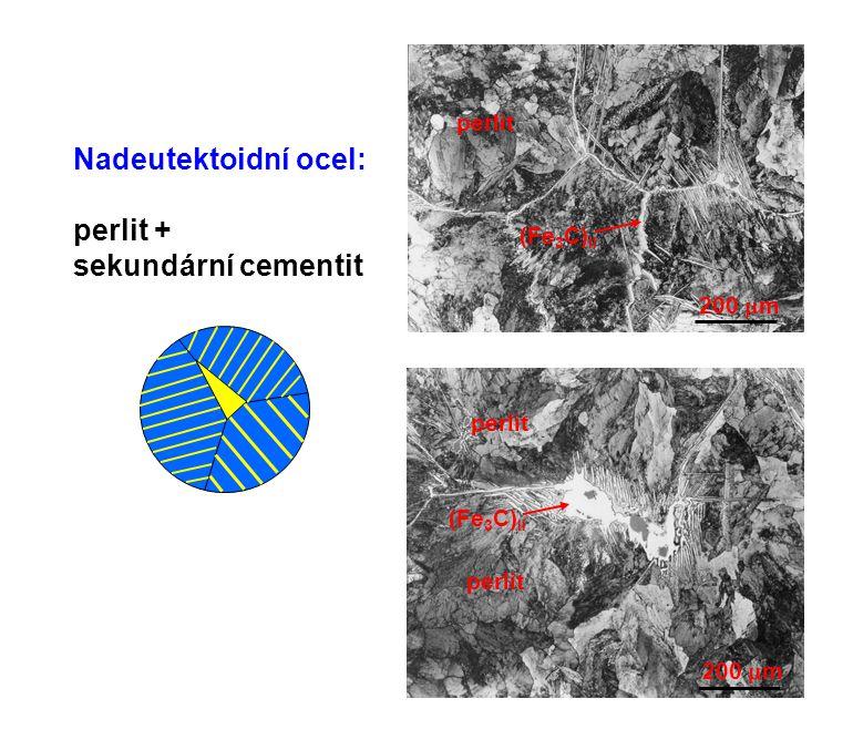 200  m Nadeutektoidní ocel: perlit + sekundární cementit 200  m perlit (Fe 3 C) II