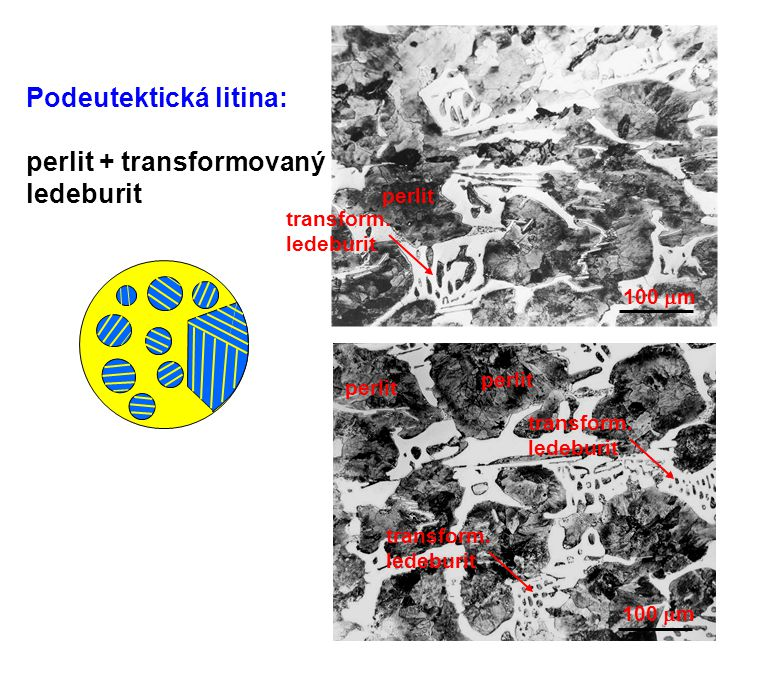 100  m Podeutektická litina: perlit + transformovaný ledeburit 100  m perlit transform. ledeburit transform. ledeburit transform. ledeburit