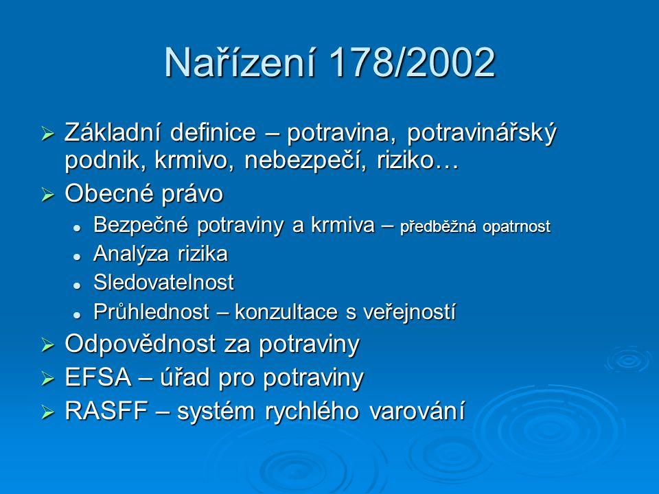 Nařízení 178/2002  Základní definice – potravina, potravinářský podnik, krmivo, nebezpečí, riziko…  Obecné právo Bezpečné potraviny a krmiva – předběžná opatrnost Bezpečné potraviny a krmiva – předběžná opatrnost Analýza rizika Analýza rizika Sledovatelnost Sledovatelnost Průhlednost – konzultace s veřejností Průhlednost – konzultace s veřejností  Odpovědnost za potraviny  EFSA – úřad pro potraviny  RASFF – systém rychlého varování