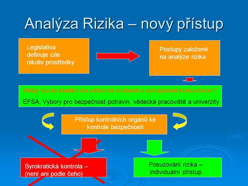 Analýza Rizika – nový přístup Legislativa definuje cíle nikoliv prostředky Postupy založené na analýze rizika Velký důraz kladen na odborné znalosti a