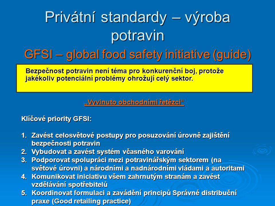 Privátní standardy – výroba potravin GFSI – global food safety initiative (guide) Bezpečnost potravin není téma pro konkurenční boj, protože jakékoliv