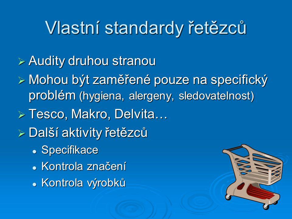 Vlastní standardy řetězců  Audity druhou stranou  Mohou být zaměřené pouze na specifický problém (hygiena, alergeny, sledovatelnost)  Tesco, Makro, Delvita…  Další aktivity řetězců Specifikace Specifikace Kontrola značení Kontrola značení Kontrola výrobků Kontrola výrobků
