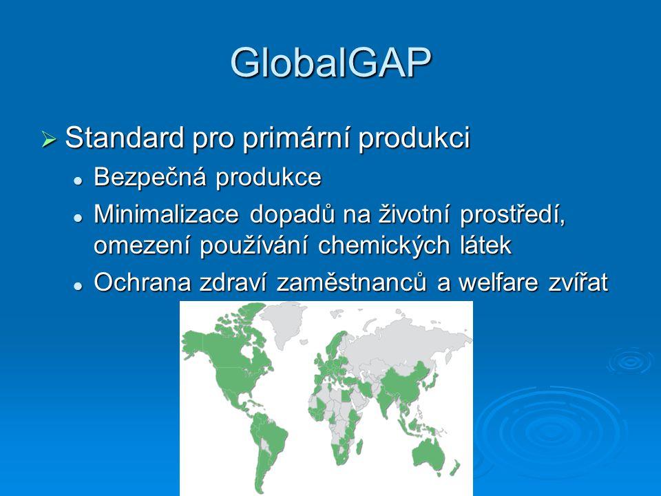 GlobalGAP  Standard pro primární produkci Bezpečná produkce Bezpečná produkce Minimalizace dopadů na životní prostředí, omezení používání chemických látek Minimalizace dopadů na životní prostředí, omezení používání chemických látek Ochrana zdraví zaměstnanců a welfare zvířat Ochrana zdraví zaměstnanců a welfare zvířat