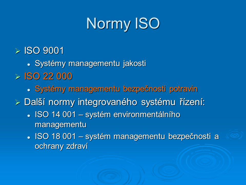 Normy ISO  ISO 9001 Systémy managementu jakosti Systémy managementu jakosti  ISO 22 000 Systémy managementu bezpečnosti potravin Systémy managementu bezpečnosti potravin  Další normy integrovaného systému řízení: ISO 14 001 – systém environmentálního managementu ISO 14 001 – systém environmentálního managementu ISO 18 001 – systém managementu bezpečnosti a ochrany zdraví ISO 18 001 – systém managementu bezpečnosti a ochrany zdraví