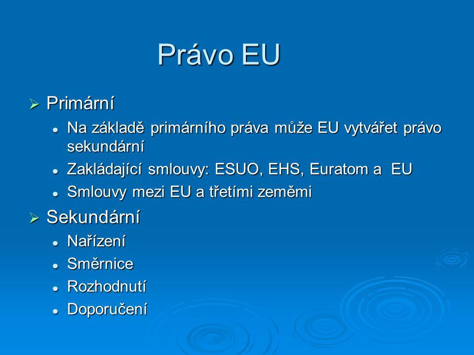 Právo EU  Primární Na základě primárního práva může EU vytvářet právo sekundární Na základě primárního práva může EU vytvářet právo sekundární Zakládající smlouvy: ESUO, EHS, Euratom a EU Zakládající smlouvy: ESUO, EHS, Euratom a EU Smlouvy mezi EU a třetími zeměmi Smlouvy mezi EU a třetími zeměmi  Sekundární Nařízení Nařízení Směrnice Směrnice Rozhodnutí Rozhodnutí Doporučení Doporučení