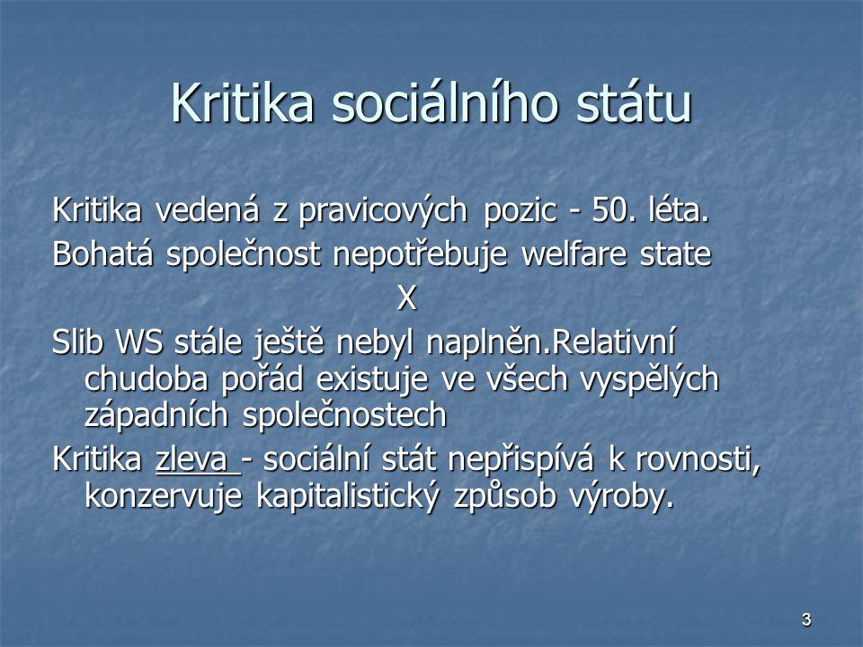 3 Kritika sociálního státu Kritika vedená z pravicových pozic - 50. léta. Bohatá společnost nepotřebuje welfare state X Slib WS stále ještě nebyl napl