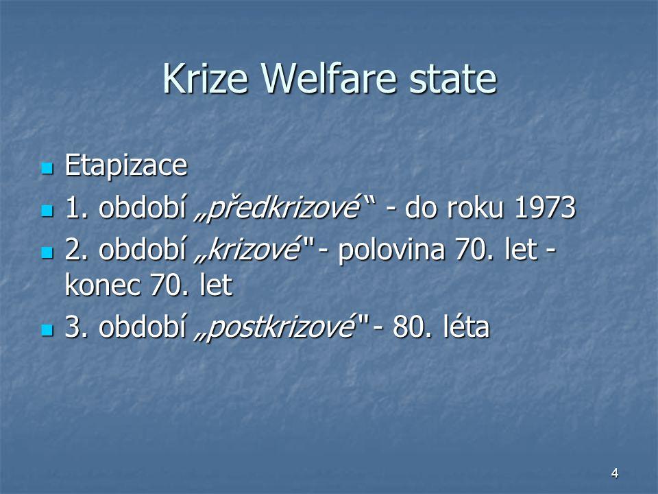 """4 Krize Welfare state Etapizace Etapizace 1. období """"předkrizové """" - do roku 1973 1. období """"předkrizové """" - do roku 1973 2. období """"krizové"""" - polovi"""