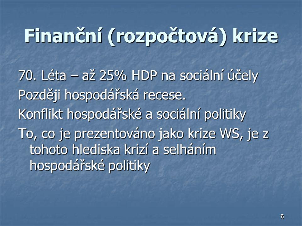 6 Finanční (rozpočtová) krize 70. Léta – až 25% HDP na sociální účely Později hospodářská recese. Konflikt hospodářské a sociální politiky To, co je p