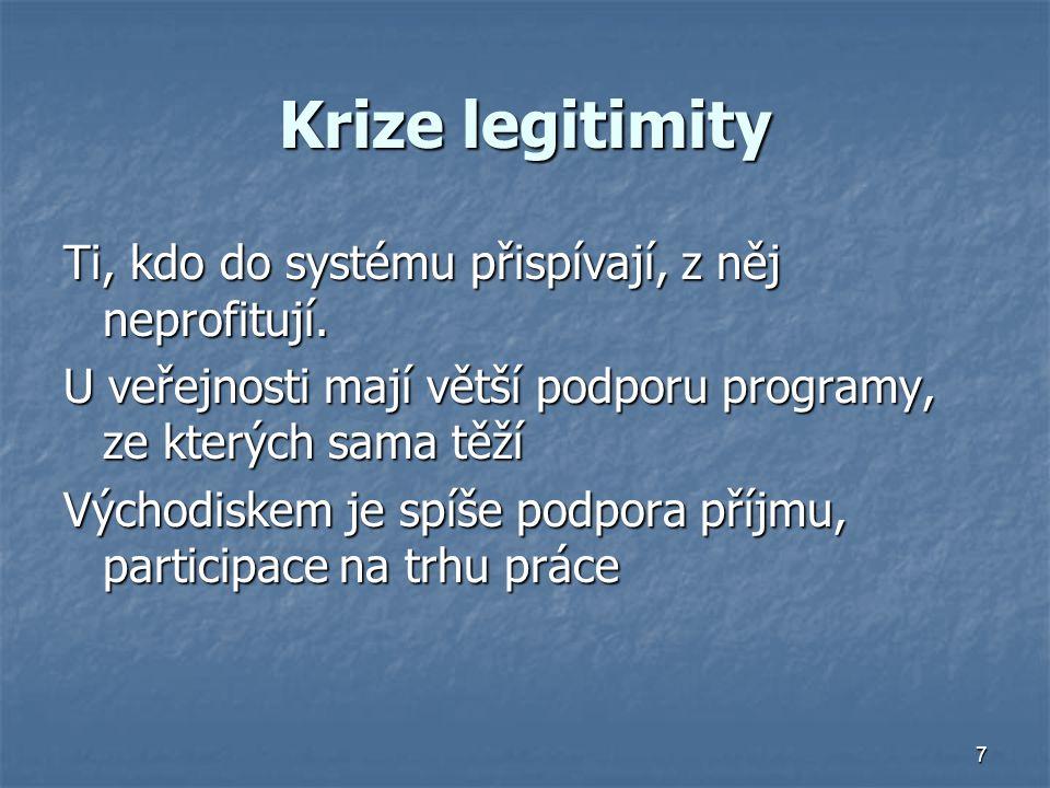 7 Krize legitimity Ti, kdo do systému přispívají, z něj neprofitují.