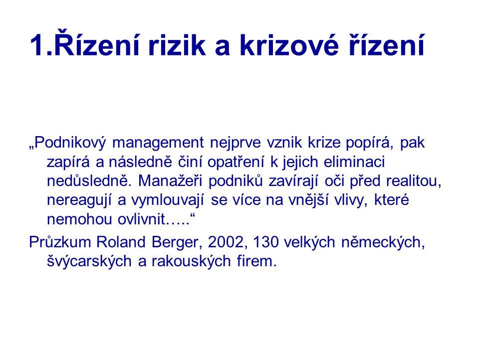 """1.Řízení rizik a krizové řízení """"Podnikový management nejprve vznik krize popírá, pak zapírá a následně činí opatření k jejich eliminaci nedůsledně. M"""