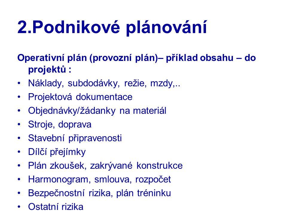 2.Podnikové plánování Operativní plán (provozní plán)– příklad obsahu – do projektů : Náklady, subdodávky, režie, mzdy,.. Projektová dokumentace Objed