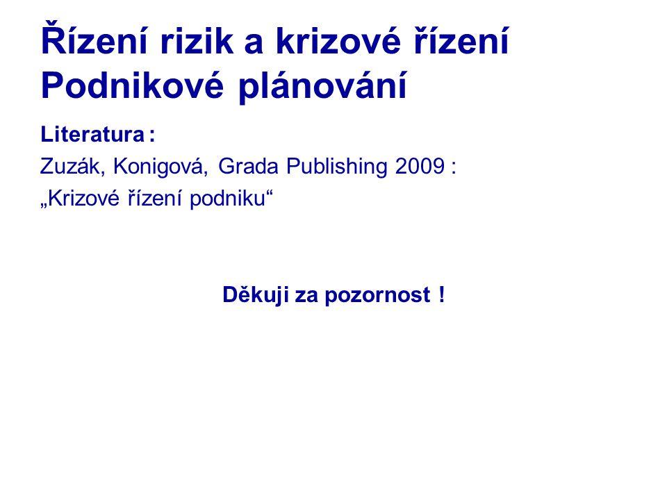 """Řízení rizik a krizové řízení Podnikové plánování Literatura : Zuzák, Konigová, Grada Publishing 2009 : """"Krizové řízení podniku Děkuji za pozornost !"""