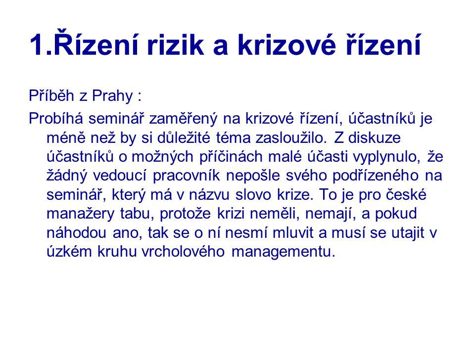 1.Řízení rizik a krizové řízení Příběh z Prahy : Probíhá seminář zaměřený na krizové řízení, účastníků je méně než by si důležité téma zasloužilo.