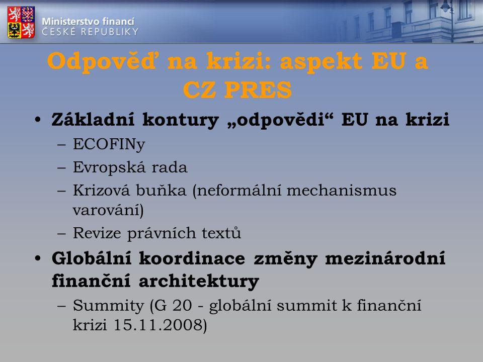 """Základní kontury """"odpovědi"""" EU na krizi –ECOFINy –Evropská rada –Krizová buňka (neformální mechanismus varování) –Revize právních textů Globální koord"""