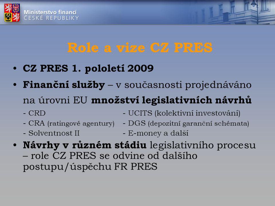 Role a vize CZ PRES CZ PRES 1. pololetí 2009 Finanční služby – v současnosti projednáváno na úrovni EU množství legislativních návrhů - CRD- UCITS (ko