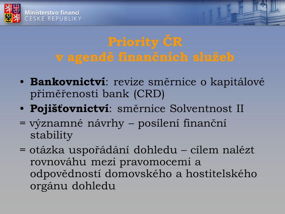Priority ČR v agendě finančních služeb Bankovnictví : revize směrnice o kapitálové přiměřenosti bank (CRD) Pojišťovnictví : směrnice Solventnost II =
