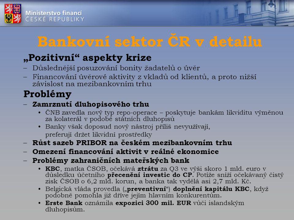 """Bankovní sektor ČR v detailu """"Pozitivní"""" aspekty krize –Důslednější posuzování bonity žadatelů o úvěr –Financování úvěrové aktivity z vkladů od klient"""