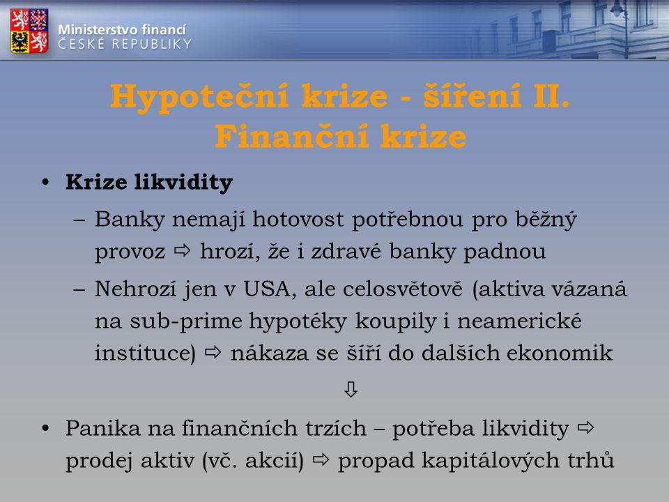 Hypoteční krize - šíření II. Finanční krize Krize likvidity –Banky nemají hotovost potřebnou pro běžný provoz  hrozí, že i zdravé banky padnou –Nehro